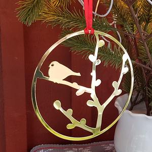 Weihnachtsdeko Gimpel (Dompfaff) gold