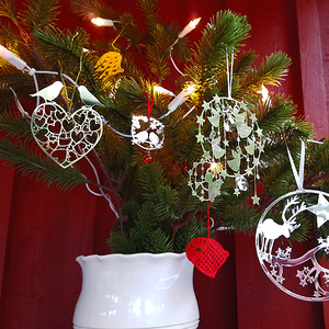 Weihnachtsdeko Gimpel (Dompfaff) silber mit Glöckchen