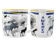 Kaffetasse Elche mit Schweden-Fahne