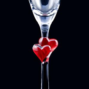 Hochzeitsglas - Sektglas rote Herzen