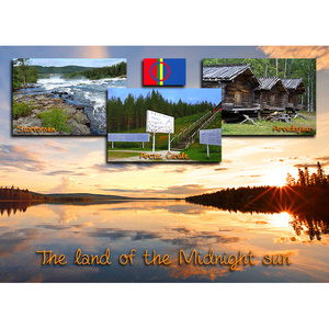 Postkarte 14 Mitternachtssonne Polarkreis