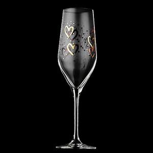 Bröllopsglas - Champagneglas med  hjärtan i guld